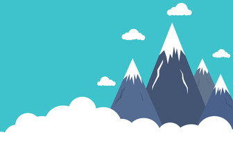 Flat style mountain peaks above clouds