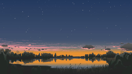 Landscape panorama autumn twilight with stars