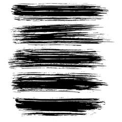 Black ink vector brush strokes isolated on white background. Vector illustration. Grunge texture.
