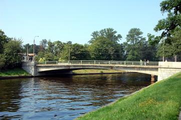 Most Krasnogo Kursanta (Red Cadet bridge) over Zhdanovka River in St-Petersburg, Russia. The Zhdanovka River is a short river in the Neva River delta. It separates Petrogradsky and Petrovsky Islands