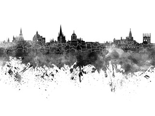 Fotomurales - Oxford skyline in black watercolor