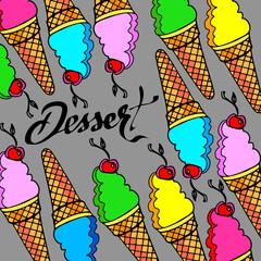 ice cone vector snack summer cold dessert