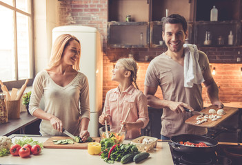 Young family cooking