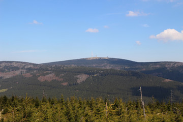 Wandern, Nationalpark Harz, Blick, Mount Brocken, Panorama view
