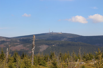 Wandern, Nationalpark Harz, Blick, Mount Brocken, Panorama