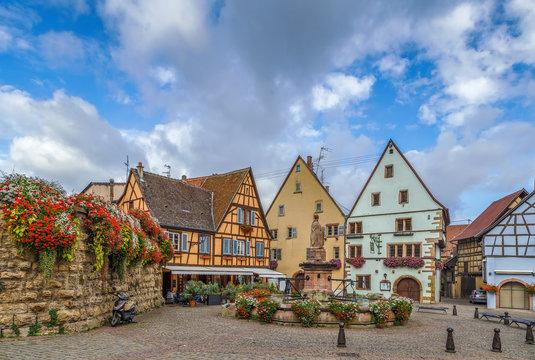 Main square in Eguisheim, Alsace, France