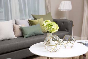 living room decoration with flower vase