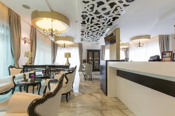 Interior of a modern new hotel restaurant