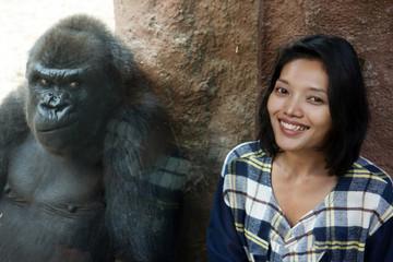 Zoo visitor at the gorilla enclosure
