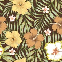 tropical leaves hibiscus frangipani seamless brown background
