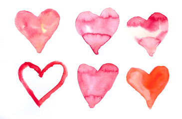 Set of red hearts , watercolor hand painted on paper for valentines day, Art design element