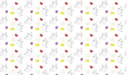 isolated seamless pattern with pigeons rings heatrs and letters