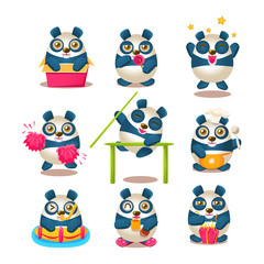 Cute Panda Emoji Collection With Humanized Cartoon Panda Character Doing Different Day-to-day Things