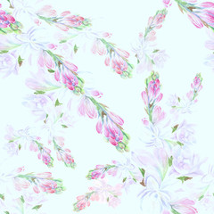Tuberose - branches. Seamless pattern. medicinal, perfumery and cosmetic plants. Wallpaper. Use printed materials, signs, posters, postcards, packaging.