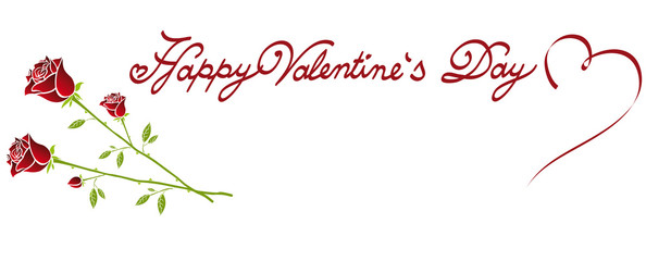 Happy Valentine's Day lettering fonts ornament with wonderful roses
