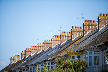 English row of houses with chimneys