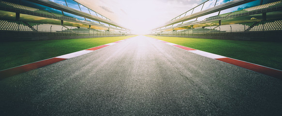 Foto op Aluminium Motorsport View of the infinity empty asphalt international race track, digital imaging recomposition montage background . evening scene .
