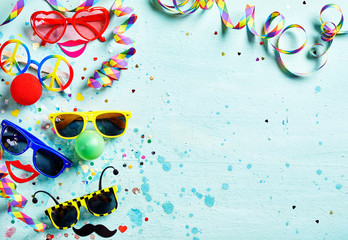 Colorful fun carnival or photo booth accessories