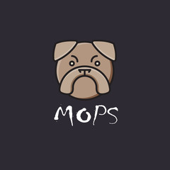Pug dog label, mops head logo.