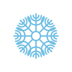 Snowflake isolated. Blue snow on white background