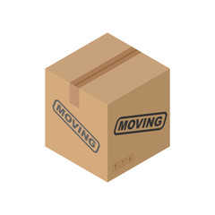 Cardboard box Moving isolated. pasteboard case on white backgrou