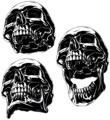 High detailed cool black human skull set