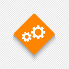 Gear icon in flat stile with long shadow.
