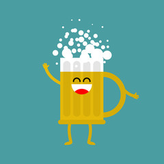 Beer happy isolated. lager mug on white background. drinking for