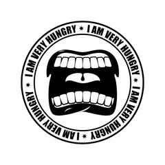 I am very hungry logo. Open mouth and teeth. Emblem for restaura