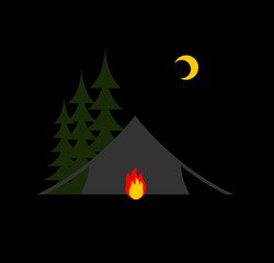 Camping night isolated. Sun, forest and tent. Bonfire and month