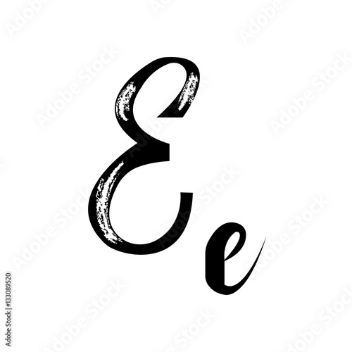 Letter E Alphabet Vector Handwritten Calligraphy Font