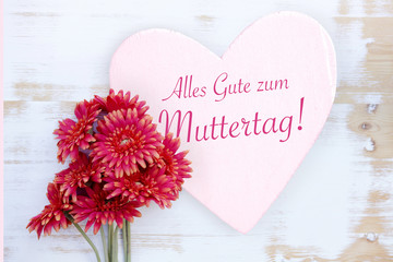 red flowers and german words Happy Mothers Day
