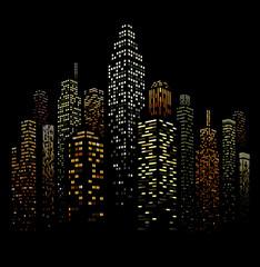 Vector Urban Cityscape Silhouette Illustration