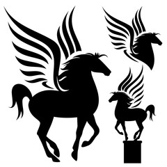 prancing pegasus - black winged horse vector silhouette