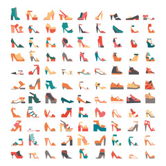 Large vector bundle with stylish contemporary flat shoes icons, drawn in geometric style and isolated on white background. Large collection with 99 different colorful shoes, sandals and other footwear