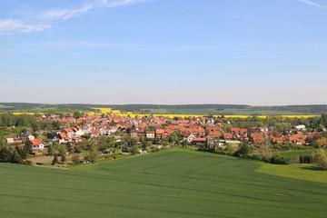 Dorflandschaft, Rapsfeld