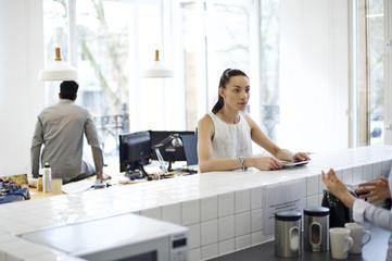 Mixed race businesswoman in an informal office