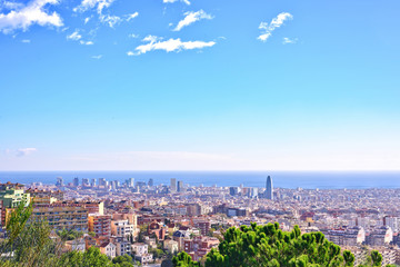 Barcelona city View from Park Guell at sunrise. Beautiful blue sky