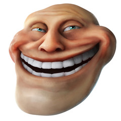 Rage comics face. Trollface. 3D rendering isolated