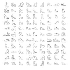Large vector set with summer and spring shoes, sandals and sneakers with different heel types. Hand drawn collection of black outline fashion shoes on white. Beautiful collection.