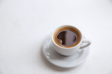 Cup of coffee, americano, espresso, white space, background, selective focus