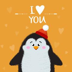 Cartoon penguin isolated on background. I love you handwritten vector illustration. Lettering I love you. Vector illustration