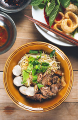 dried noodle with stewed pork and meatball,thai food