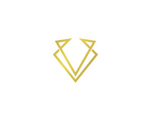 Initial Letter V Elegant Gold Logo Design Element