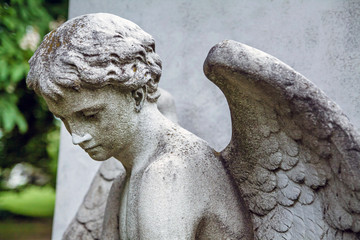 Printed roller blinds Cemetery Fragment statue of angel at the cemetery in Budapest, Hungary.