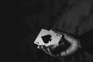 Ace Spade Card in Hand, Black and White Color