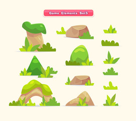 Illustration of a set  cartoon spring or summer little trees with grass for ui game