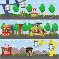 Vector set of amusement park concept posters, banners, flat style