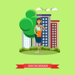 Vector illustration of anchorman, flat design.