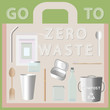 set of things go to zero waste, flat lay vector style